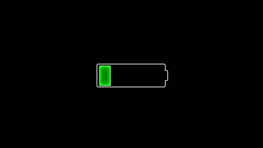 Illustration of the battery icon which being charging from empty to full on the black screen background.