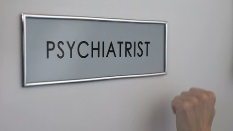 Psychiatrist room door, patient hand knocking closeup, depression treatment