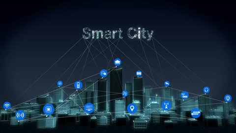 Forward moving,  Various IoT sensor icon on Smart city, Smart Building connecting 'Smart City' IoT. 4k animation.