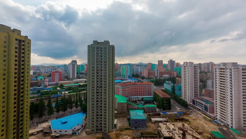 August, 2018 - Pyongyang, North Korea - Panoramic shooting of the central residential street of Pyongyang from the height of the twenty-fourth floor of the hotel