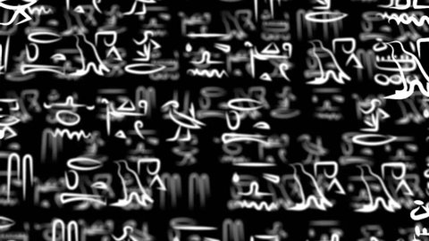 hieroglyphic Egyptian texture. Ancient hieroglyphs in different layers moving around in 3d animation.