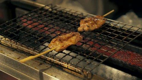 Kao Niew Moo Yang. Street Food In Thailand