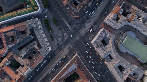 Birds eye view of downtown Budapest in sunset - aerial video taken by a drone