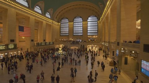 New York, USA - May 10, 2018: Moving shot of commuters at Grand Central Station in New York