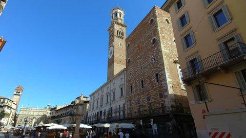 Verona ITALY Circa August/2018 - Romeo and Juliet - Piazza Delle Erbe near Juliet's house in Via Cappello 23.