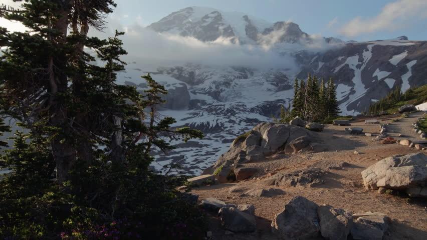 Mt Rainier Motion Push with Sun Lens Flare