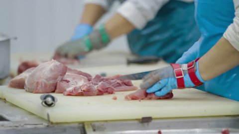 The meat factory is preparing fresh meat for delivery to stores