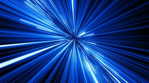 Beautiful Space Travel Through Stars Trails Blue Color. Abstract Hyperspace Jump in Universe. Digital Design Concept. Looped 3d Animation of Glowing Lines 4k Ultra HD 3840x2160.