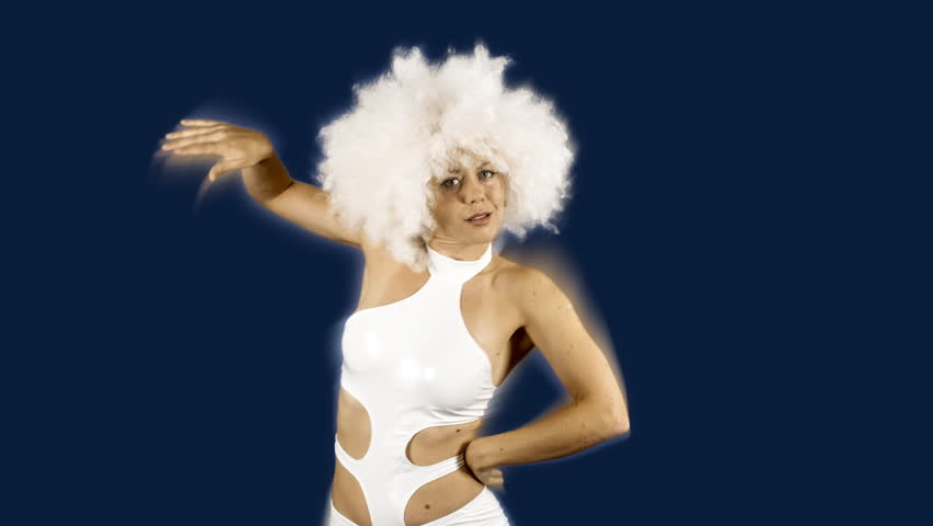 beautiful female dancer in white space costume and large white afro wig.  Perfect for stylish club 3ef0a4171
