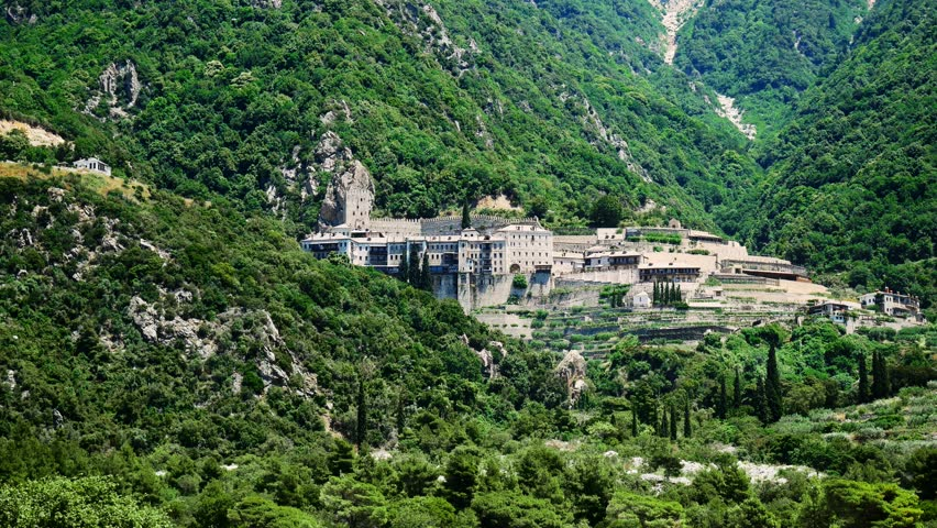 View of the Monastery on Mount Athos, Greece
