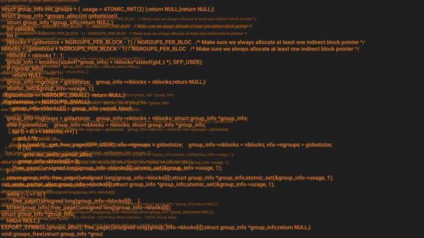 Orange screen coding hacker concept animation with glitch. Programming code typing error. Big data and Internet cyber attack. Programming code abstract. Blockchain concept, computer digital code