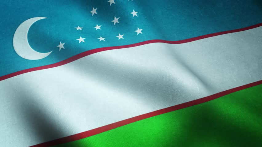Realistic flag of Uzbekistan waving with highly detailed fabric texture.