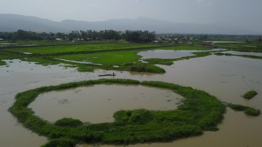 Moirang, MANIPUR / India - 07 13 2018: fisherman arial view