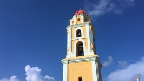 Trinidad, Cuba: The former Saint Francis of Assisi convent during the blue clear sky day. Tilt.
