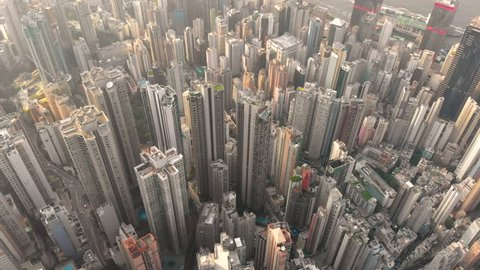 Aerial drone shot of Hong Kong city reveal residential area and office building