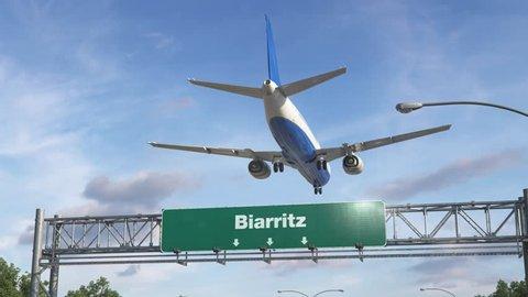 Airplane Landing Biarritz