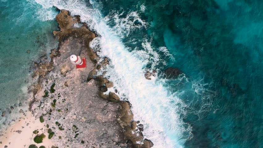 Aerial View of Cancun Lighthouse with sight of Mexico Gulf, HD Drone Footage | Shutterstock HD Video #1015720816