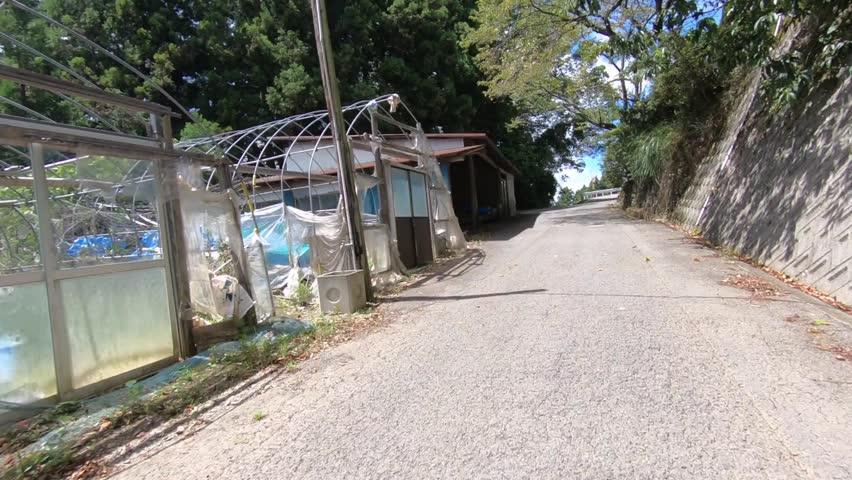 POV of the mountain road of Shikoku