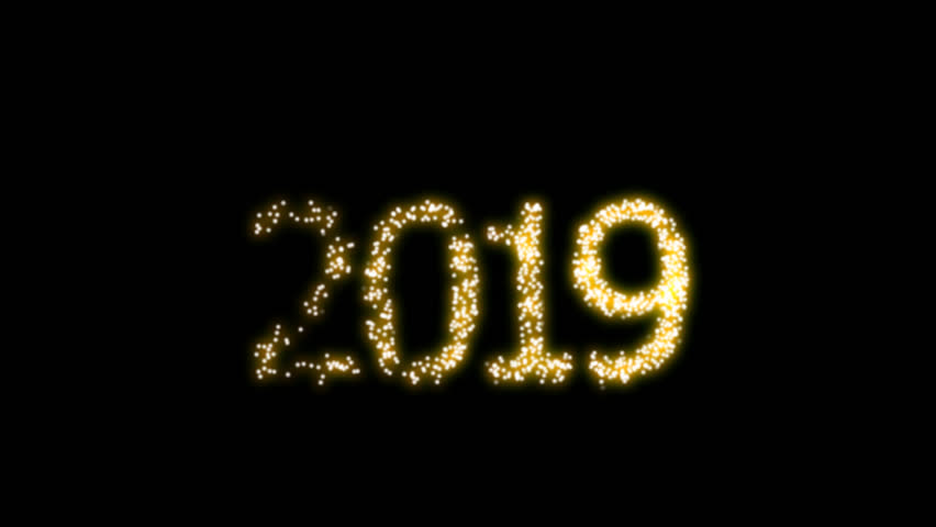 Happy New Year 2019 Video Animation with dynamic particles with shake camera and alpha clip. For designing animated greeting cards and banners.