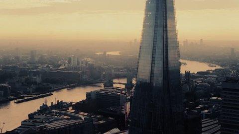Establishing Aerial View of Shard and Tower Bridge, London, United Kingdom