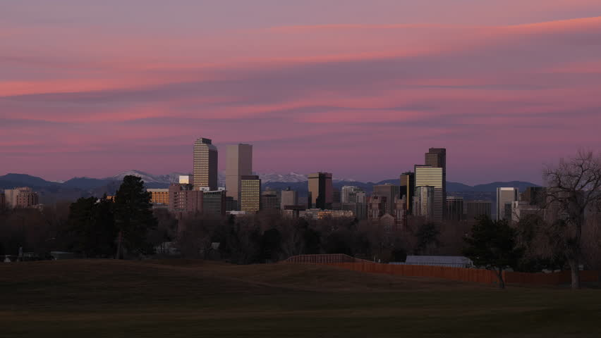 Downtown Denver Wide Shot Sunrise Timelapse