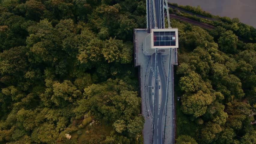 Aerial view of Clifton Suspension Bridge, Bristol, United Kingdom