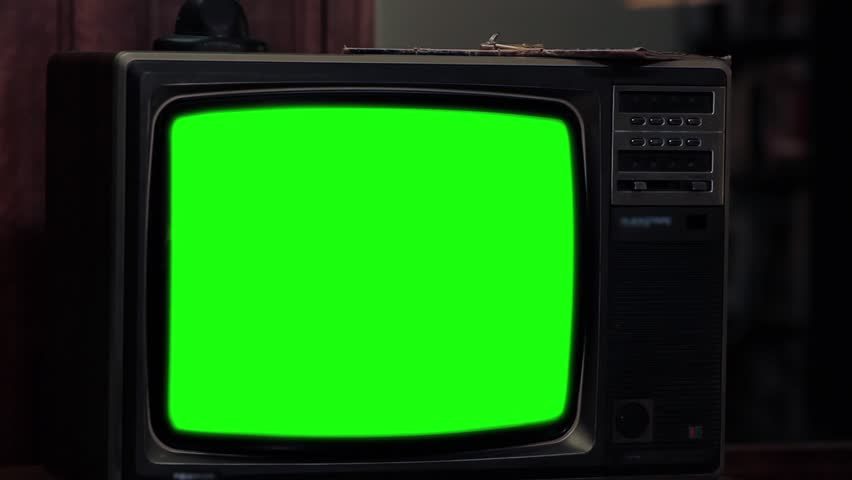 "80s TV With Green Screen. Red Tone. Zoom Out. Ready to Replace Green Screen with any Footage or Picture you Want. You Can Do It With ""Keying"" (Chroma Key) Effect. Full HD. 