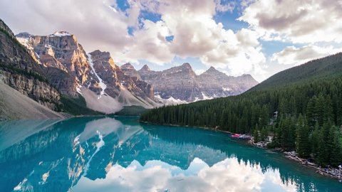 Beautiful time lapse of Moraine Lake, Banff National Park, Alberta, Canada