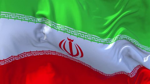 123. Iran Flag Waving in Wind Slow Motion Animation . 4K Realistic Fabric Texture Flag Smooth Blowing on a windy day Continuous Seamless Loop Background.