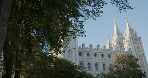 Panning shot of Salt Lake City Mormon Temple. Church of Jesus Christ of Latter-Day Saints in Salt Lake City, Utah. LDS Church created by Joseph Smith.