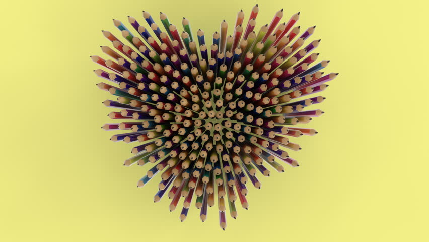 A lot of multicolored pencils fall from the standing position, top view. 3D animation with alpha matte.