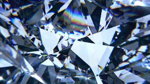 Blue diamond dispersion footage. Fancy color diamond. Round diamond cut animation with light dispersions on surface. 3D animation of shiny gem stone.