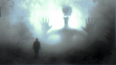 Lone man walks through wooded misty night fog encountering large alien being from another dimension with glitch jitter shaky effect