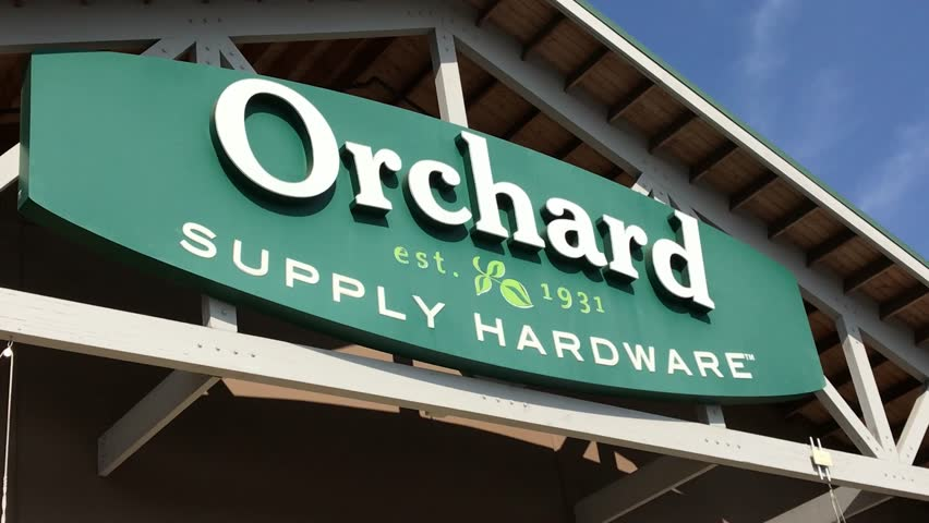 LOS ANGELES, Sep 1, 2018: Close up of an OSH Orchard Supply Hardware store sign and logo above a West LA store against a blue sky. The chain is set to close for good on October 20th