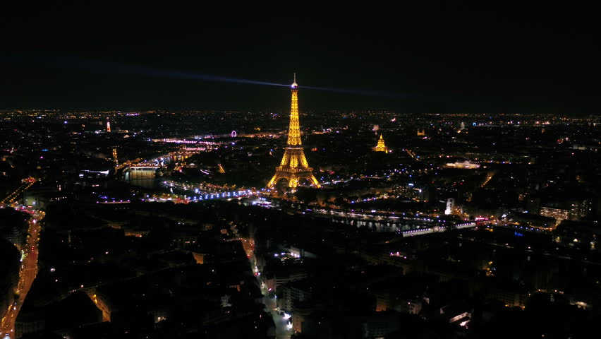 Aerial France Paris Eiffel Tower August 2018 Night 30mm 4K Inspire 2 Prores  Aerial video of the Eiffel Tower at night in Paris France.