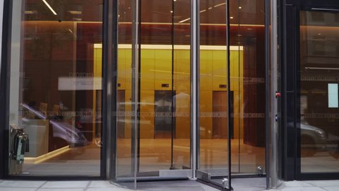 LONDON UK - MAY 21, 2018. Revolving door in reception of office building in London business area