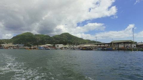 View Of Victoria Harbour And Mountains from the Boat, Mahe Island, Seychelles 1