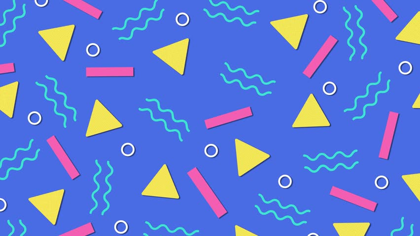 Retro abstract 80's 90's design pattern background. Memphis style with geometrical shapes of different vintage colors. Seamless 4k pop art design. #1016011156