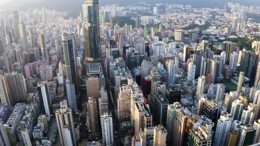 Mong Kok, Hong Kong 04 September 2018:-Aerial view of Hong Kong city   Shutterstock HD Video #1016020906