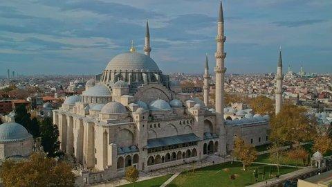 Suleymaniye (Ottoman Imperial) Mosque in Istanbul aerial shot
