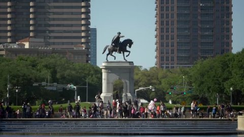 This video is of a slow motion video of tourist at the Sam Houston monument in Houston, Texas. This video was filmed in 4k for best image quality.
