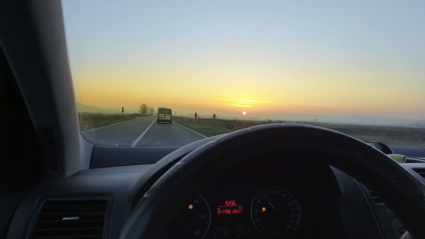 Sunset drive personal perspective | Shutterstock HD Video #1016031436