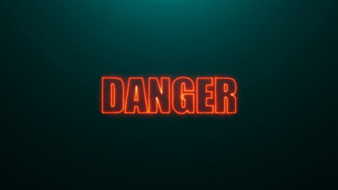 Letters of Danger text on background with top light, 3d rendering background, computer generating