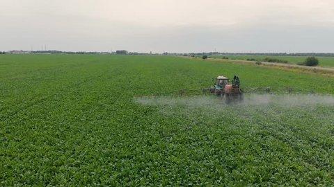 spraying sugar beet from the air