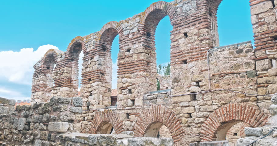 NESSEBAR, BULGARIA - JULY 2018: The Ancient City of Nesebar is a UNESCO World Heritage Site Bulgaria. Summer time