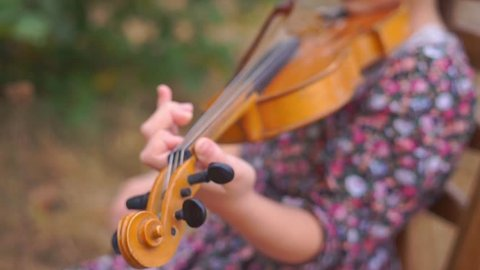 Little girl playing the violin on nature, Green background of the leaves.