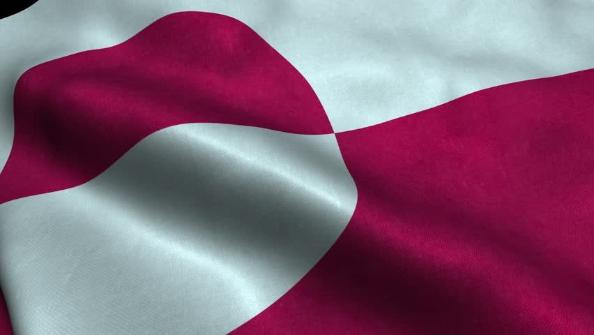 Photorealistic 4k Close up of greenland flag slow waving with visible wrinkles and realistic fabric. 15 seconds 4K, Ultra HD resolution greenland flag animation.