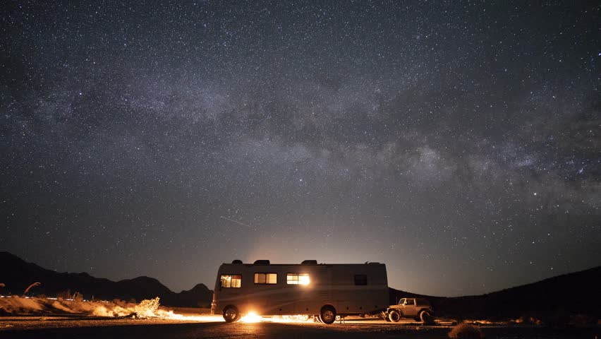 DEATH VALLEY, USA -September 03, 2018- RV camping under the stars in the middle of Death Valley National Park Desert, California. #1016157676