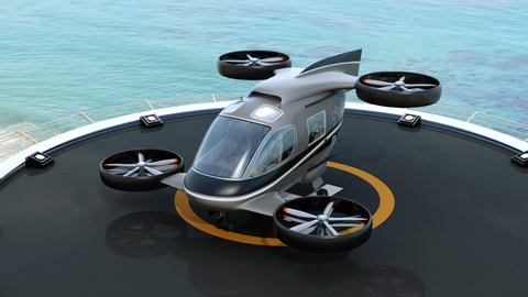 Passenger Drone Taxi parking on helipad.  3D rendering animation.