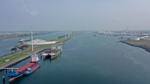 Aerial Timelapse of Ships, Ferries and Vessels Using the Port of Rotterdam Canals